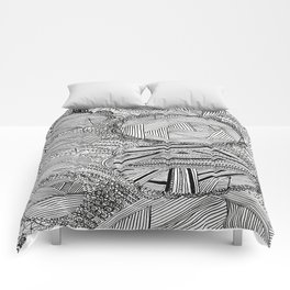 Black and White Geometric Illusion Comforters