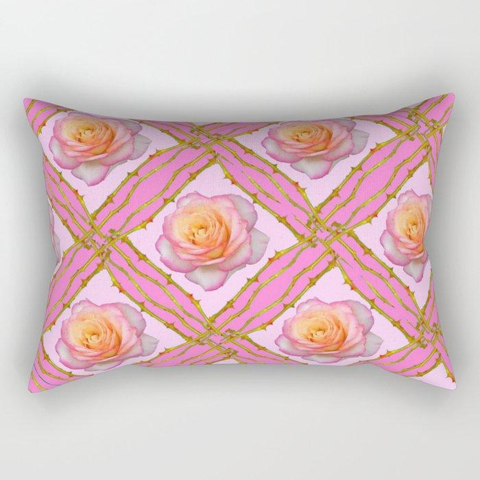 CREAMY  ROSES & RAMBLING THORNY CANES ON  PINK  DIAGONAL PATTERNS Rectangular Pillow