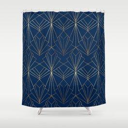 Navy Blue Art Deco Shower Curtain