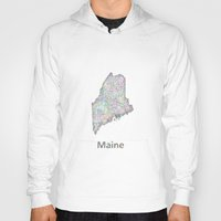 maine Hoodies featuring Maine map by David Zydd