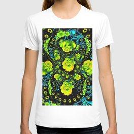 YELLOW ROSE & BLUE RIBBONS ON BLACK ART T-shirt