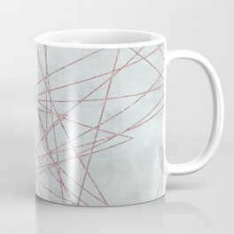 Rose Gold Glitter Line Art On Teal Coffee Mug