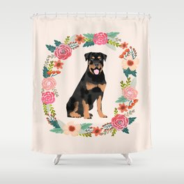 rottweiler floral wreath dog breed pet portrait pure breed dog lovers Shower Curtain