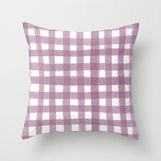 Gingham Plum Throw Pillow