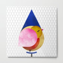 039 birdie kisses the sweet morning raindrop Metal Print