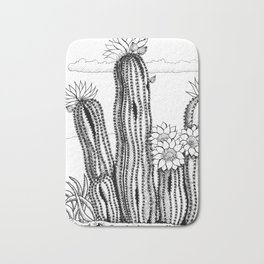 Cactus with flowers in ink Bath Mat