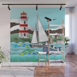 Coastal Sailing - Nautical Landscape Scene Wall Mural