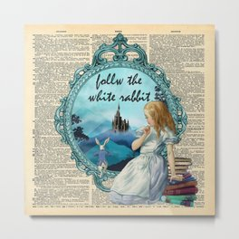 Follow The White Rabbit - Vintage Dictionary page Metal Print