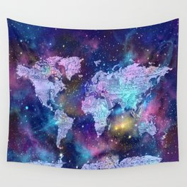 world map galaxy purple Wall Tapestry