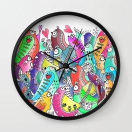 Happy birds doodle Wall Clock