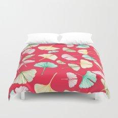 Gingko Leaves on Red Duvet Cover