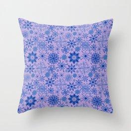 Blue Snowflakes Throw Pillow