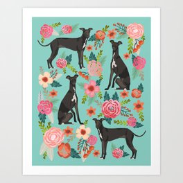 Italian Greyhound pet portraits by pet friendly dog with florals pattern Art Print