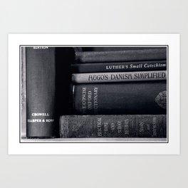 Library Shelf Books in Black & White Art Print