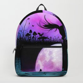 Wonderful unicorn with fairy in the night Backpack
