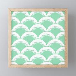Japanese Fan Pattern Mint Green Framed Mini Art Print