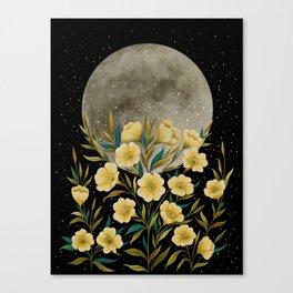 Greeting the Moon - Evening Primrose Canvas Print