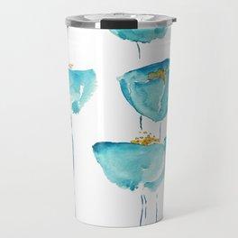 blue poppy watercolor Travel Mug