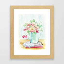 Tulips and French Enamelware Framed Art Print