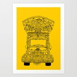 Pakistani Truck. (Yellow) Art Print