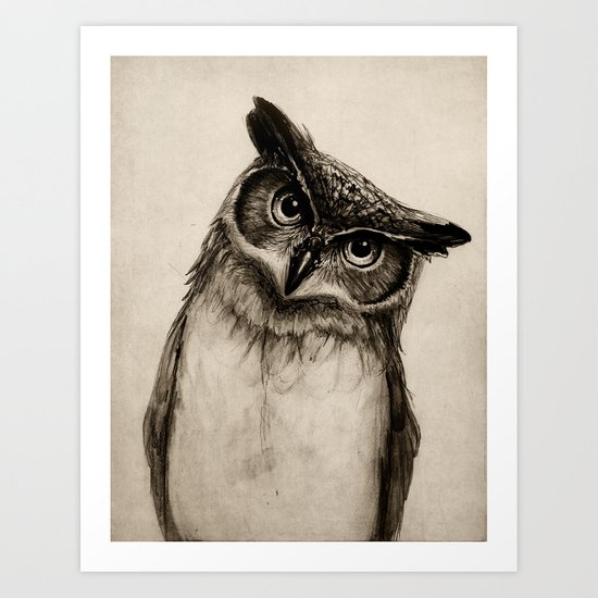 Owl Sketch Art Print