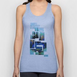 Blue Spruce Island Abstract Art Unisex Tank Top