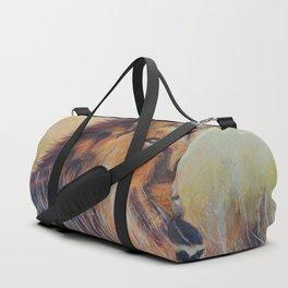 Lion sun bathing | Bain de soleil Lion Duffle Bag