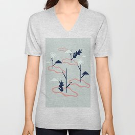Islands conected by plants artwork Unisex V-Neck