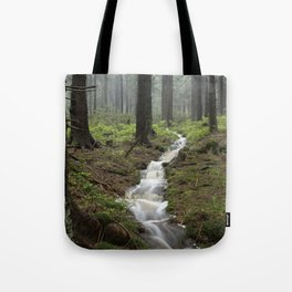 Mountains, forest, rain - water Tote Bag