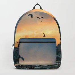 Birds at Sunset | Istanbul Turkey Cityscape Night Skyline Beautiful Yellow and Orange Firey Sky Backpack