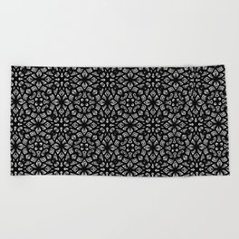 Black and White Mandala Pattern Beach Towel