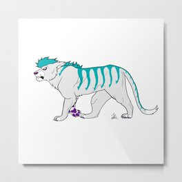 Teal Tiger Metal Print