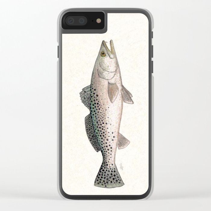 """Spotted Sea Trout"" by Amber Marine - Cynoscion nebulosus ~Watercolor Illustration, (Copyright 2013) Clear iPhone Case"
