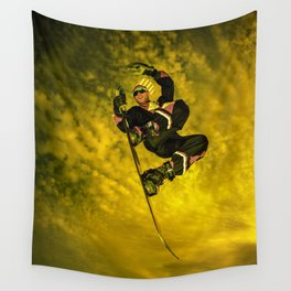Snowboarding #1 getting air Wall Tapestry