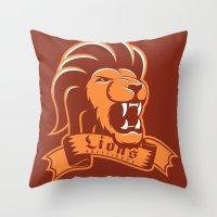 gryffindor Throw Pillows featuring Lions Gryffindor by Fresco Umbiatore