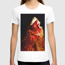 Brown chicken portrait on a black background T-shirt