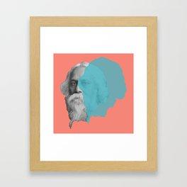 Rabindranath Tagore portrait - orange blue Framed Art Print