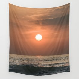 Red sunset in the ocean Wall Tapestry