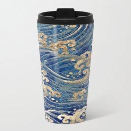 Japanese Wave Pattern - Blue Ivory Sand Metal Travel Mug
