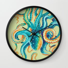 Octopus Teal Tentacles On Yellow Green Wall Clock