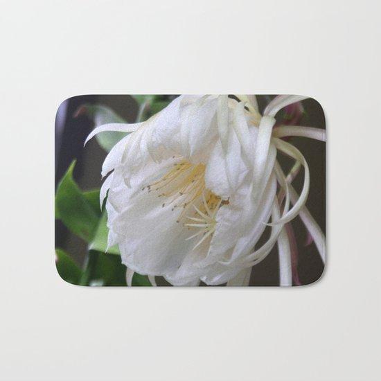 Unusual flower - Queen of the Night (Epiphyllum Oxypetalum) Bath Mat