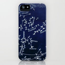 French July Star Maps in Deep Navy & Black, Astronomy, Constellation, Celestial iPhone Case