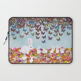 bunnies, flowers, and butterflies Laptop Sleeve