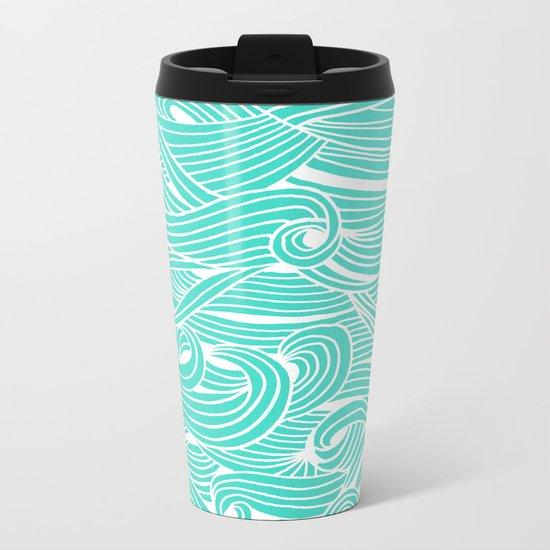 Water Drop – White on Turquoise Metal Travel Mug