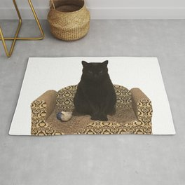 The Queen on her Couch, Edie the Manx, Black Cat Photograph Rug