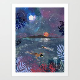 Diving in the stars Art Print