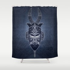 Horned Tribal Mask (color version) Shower Curtain