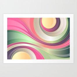 Abstract Swirls and Circles Pastel Retro Design Art Print