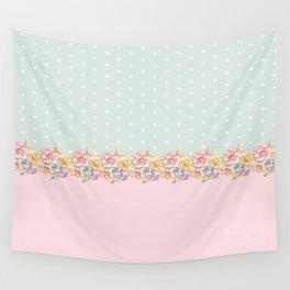Vintage green pastel pink yellow floral polka dots Wall Tapestry