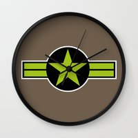 top gun Wall Clocks featuring Top Gun by FilmsQuiz